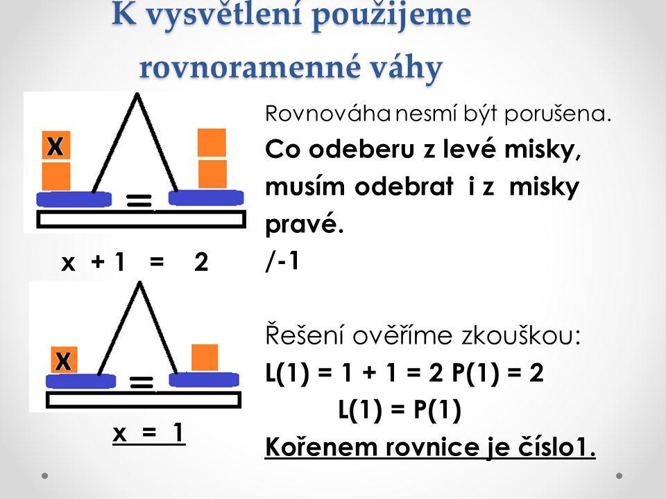 K vysvětlení použijeme rovnoramenné váhy Rovnováha nesmí být porušena. Co odeberu z levé misky, musím odebrat i z misky pravé. /-1 Řešení ověříme zkou