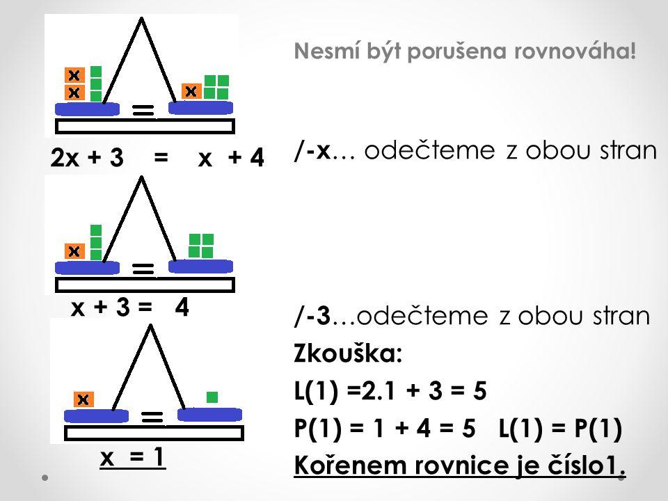 Nesmí být porušena rovnováha! /-x … odečteme z obou stran /-3 …odečteme z obou stran Zkouška: L(1) =2.1 + 3 = 5 P(1) = 1 + 4 = 5 L(1) = P(1) Kořenem r