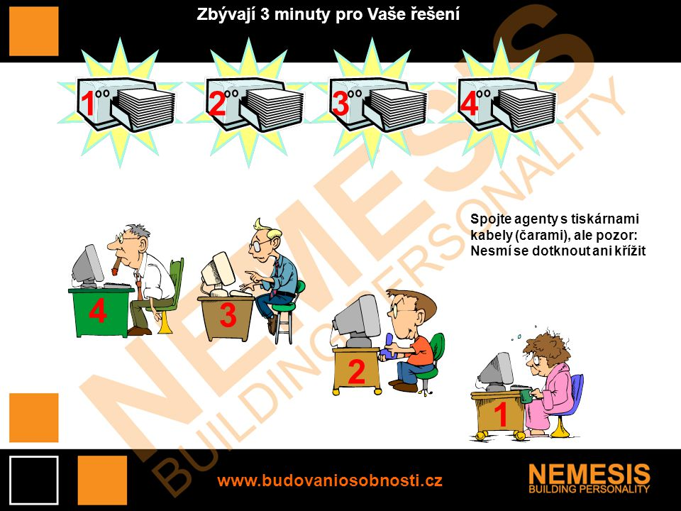 4 3 2 1 1234 Spojte agenty s tiskárnami kabely (čarami), ale pozor: Nesmí se dotknout ani křížit Zbývají 3 minuty pro Vaše řešení