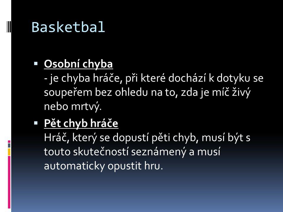 Basketbal  Osobní chyba - je chyba hráče, při které dochází k dotyku se soupeřem bez ohledu na to, zda je míč živý nebo mrtvý.  Pět chyb hráče Hráč,