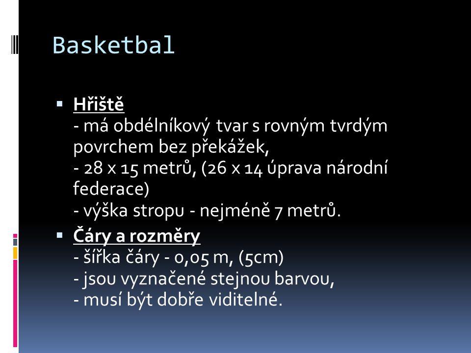 Basketbal  Hřiště - má obdélníkový tvar s rovným tvrdým povrchem bez překážek, - 28 x 15 metrů, (26 x 14 úprava národní federace) - výška stropu - nejméně 7 metrů.