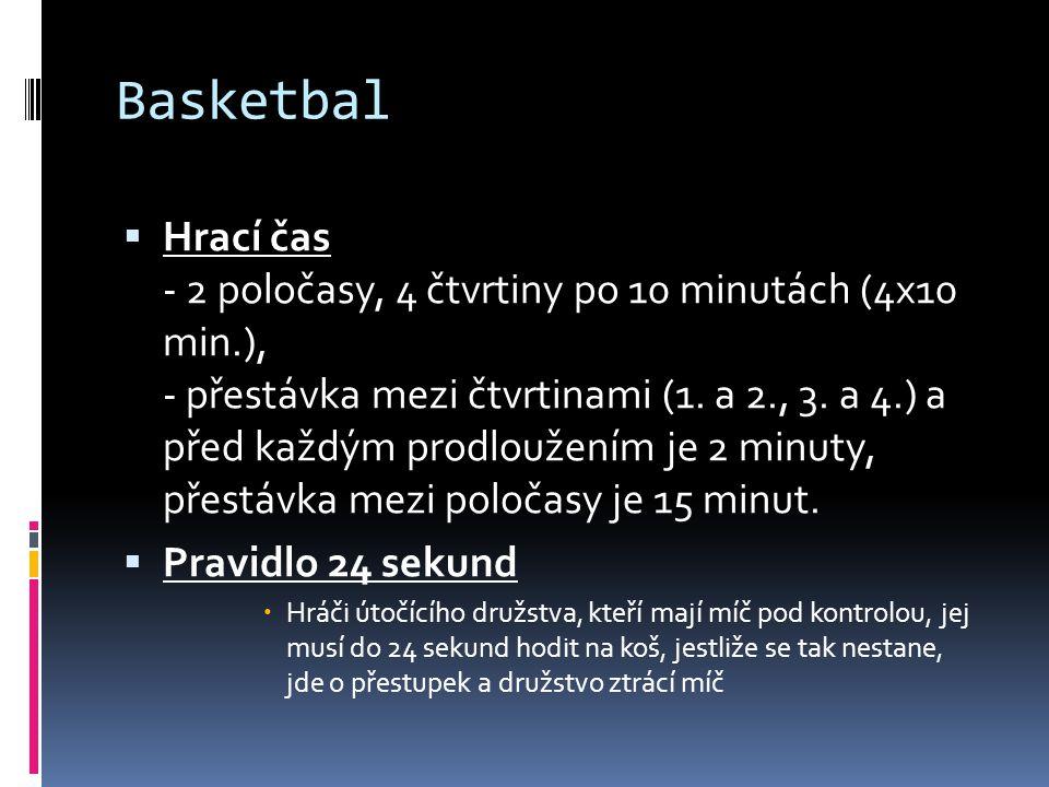 Basketbal  Hrací čas - 2 poločasy, 4 čtvrtiny po 10 minutách (4x10 min.), - přestávka mezi čtvrtinami (1. a 2., 3. a 4.) a před každým prodloužením j