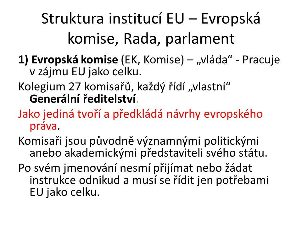 "Struktura institucí EU – Evropská komise, Rada, parlament 1) Evropská komise (EK, Komise) – ""vláda"" - Pracuje v zájmu EU jako celku. Kolegium 27 komis"