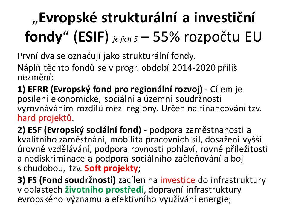 """""""Evropské strukturální a investiční fondy (ESIF) je jich 5 – 55% rozpočtu EU První dva se označují jako strukturální fondy."""