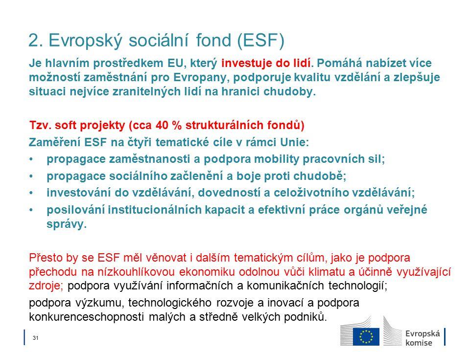 │ 31 2. Evropský sociální fond (ESF) Je hlavním prostředkem EU, který investuje do lidí.