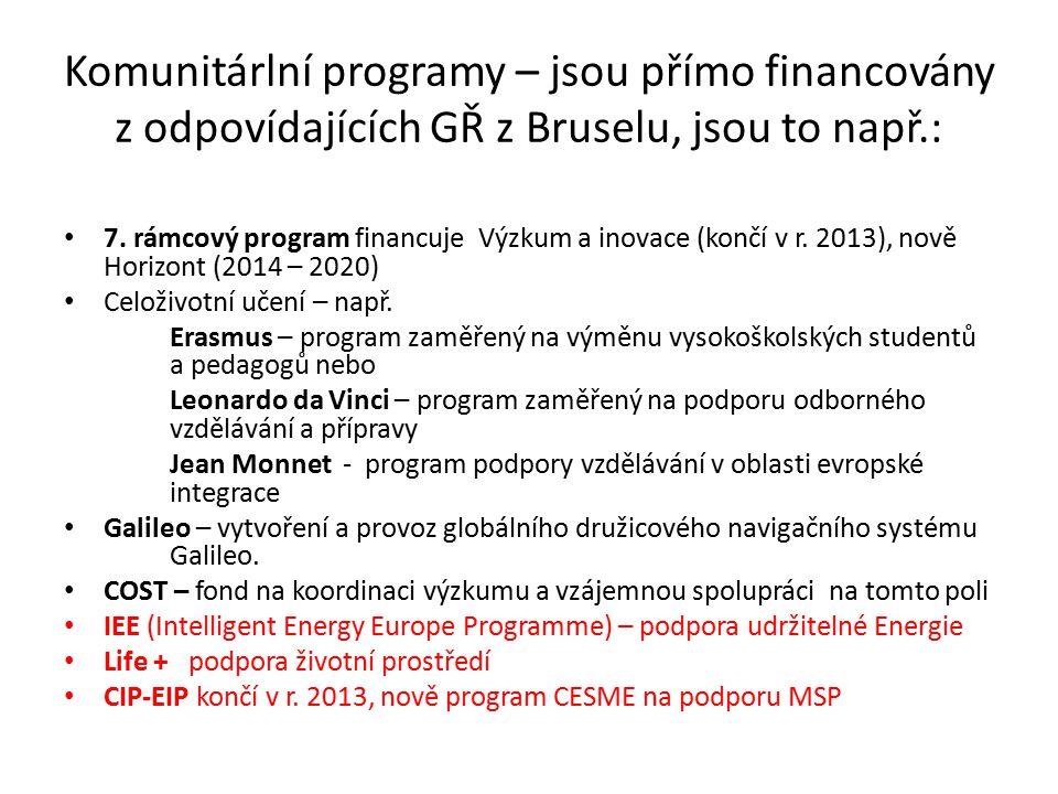 Komunitárlní programy – jsou přímo financovány z odpovídajících GŘ z Bruselu, jsou to např.: 7.
