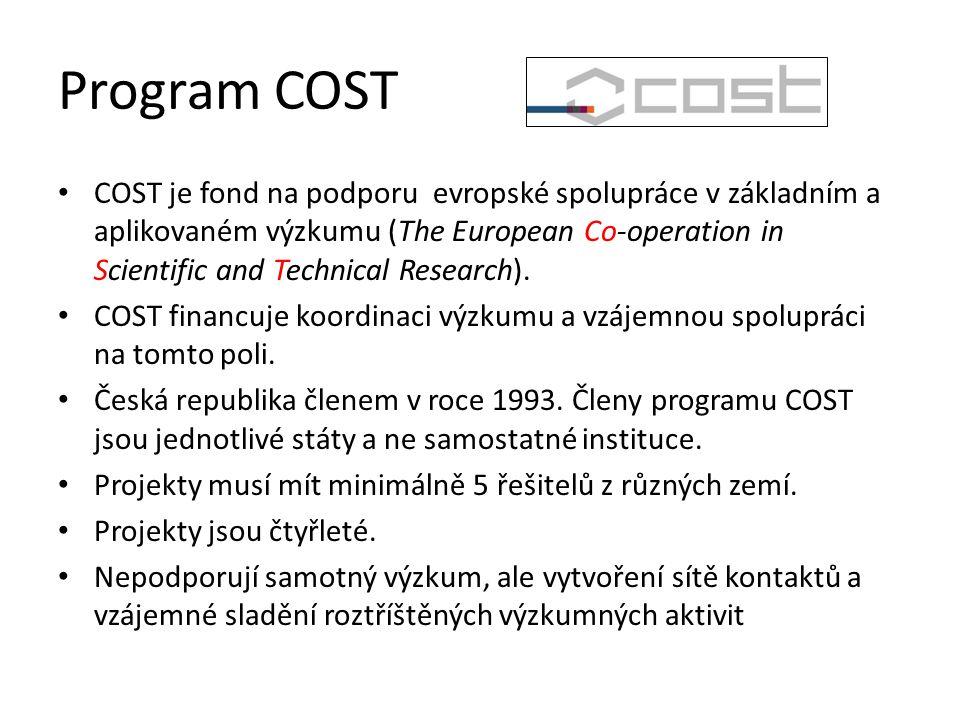 Program COST COST je fond na podporu evropské spolupráce v základním a aplikovaném výzkumu (The European Co-operation in Scientific and Technical Research).