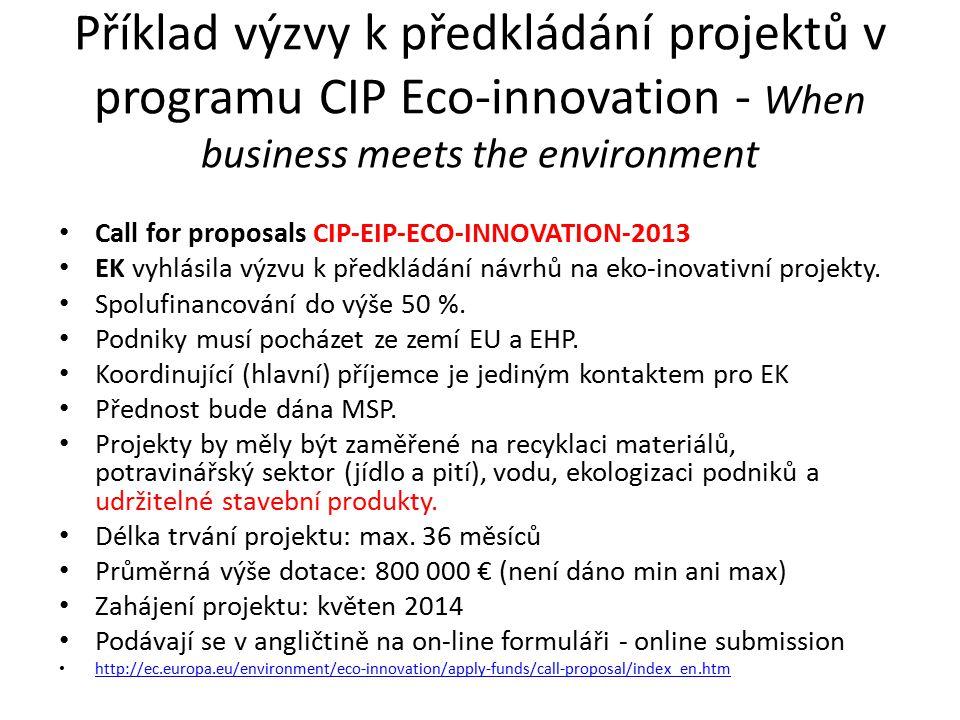 Příklad výzvy k předkládání projektů v programu CIP Eco-innovation - When business meets the environment Call for proposals CIP-EIP-ECO-INNOVATION-2013 EK vyhlásila výzvu k předkládání návrhů na eko-inovativní projekty.