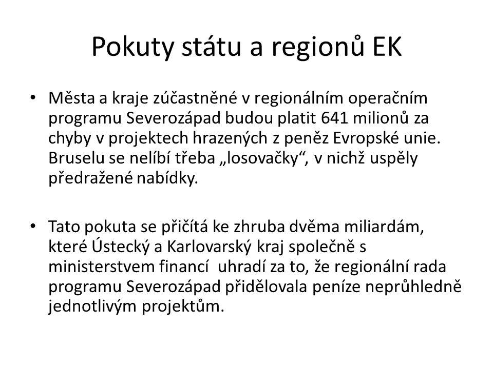 Pokuty státu a regionů EK Města a kraje zúčastněné v regionálním operačním programu Severozápad budou platit 641 milionů za chyby v projektech hrazených z peněz Evropské unie.