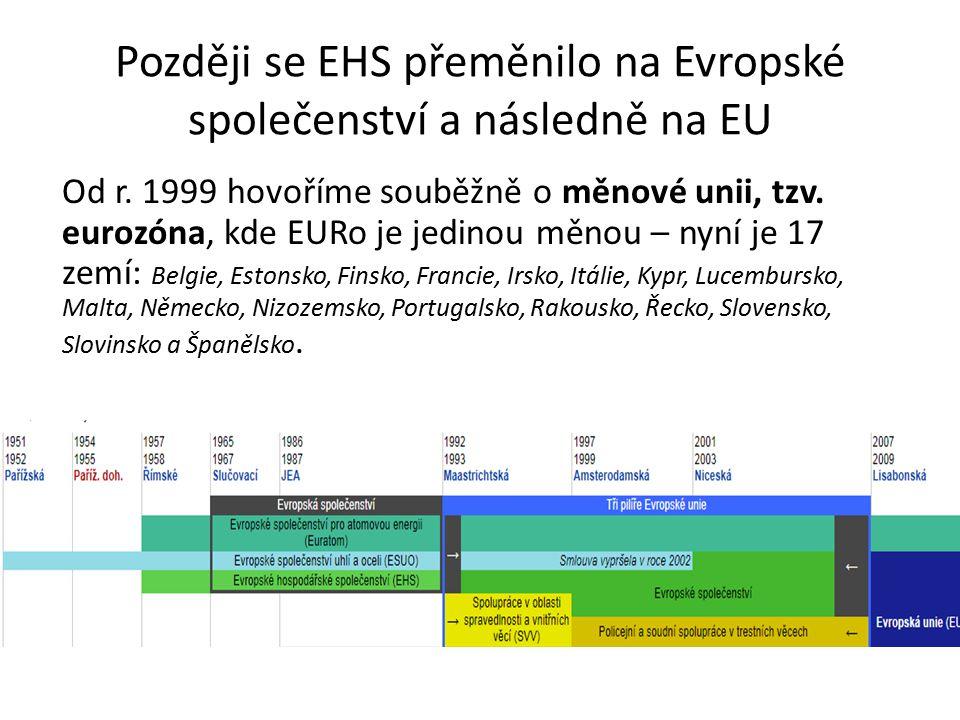 Později se EHS přeměnilo na Evropské společenství a následně na EU Od r.