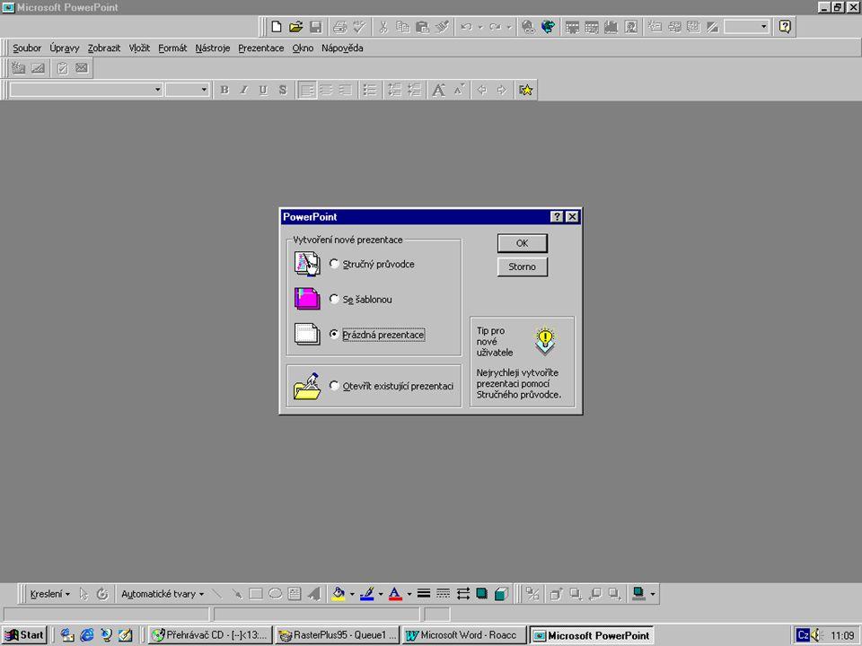 K čemu se PowerPoint používá? tvorba prezentací fólie n diapozitivy n počítačová prezentace