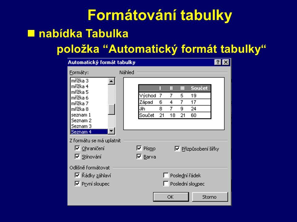 Vyplňování tabulky píšeme do buněk n mezi buňkami se pohybujeme pomocí klávesy Tab, šipkami nebo klepnutím myší
