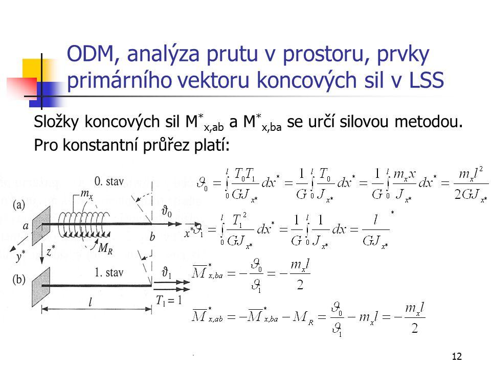 12 ODM, analýza prutu v prostoru, prvky primárního vektoru koncových sil v LSS Složky koncových sil M * x,ab a M * x,ba se určí silovou metodou. Pro k