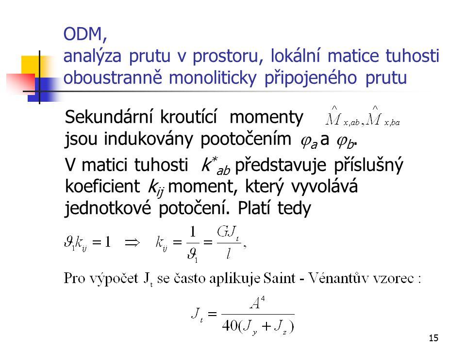 15 ODM, analýza prutu v prostoru, lokální matice tuhosti oboustranně monoliticky připojeného prutu Sekundární kroutící momenty jsou indukovány pootoče