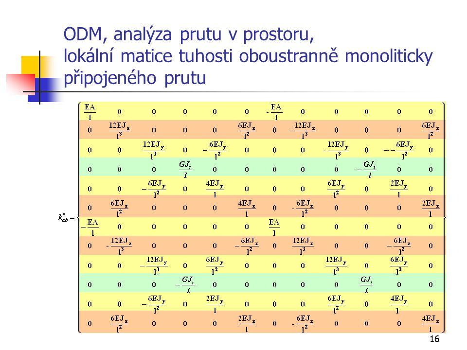 16 ODM, analýza prutu v prostoru, lokální matice tuhosti oboustranně monoliticky připojeného prutu