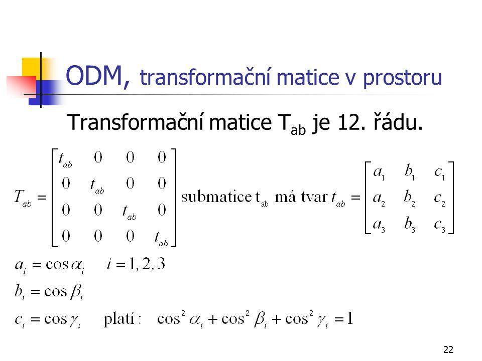 22 ODM, transformační matice v prostoru Transformační matice T ab je 12. řádu.