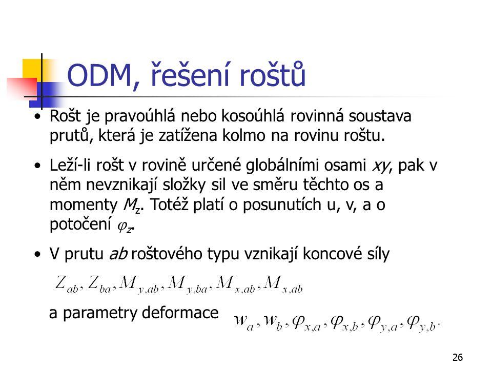 26 ODM, řešení roštů Rošt je pravoúhlá nebo kosoúhlá rovinná soustava prutů, která je zatížena kolmo na rovinu roštu. Leží-li rošt v rovině určené glo