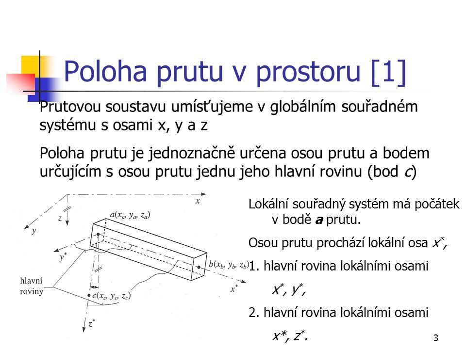3 Poloha prutu v prostoru [1] Prutovou soustavu umísťujeme v globálním souřadném systému s osami x, y a z Poloha prutu je jednoznačně určena osou prut