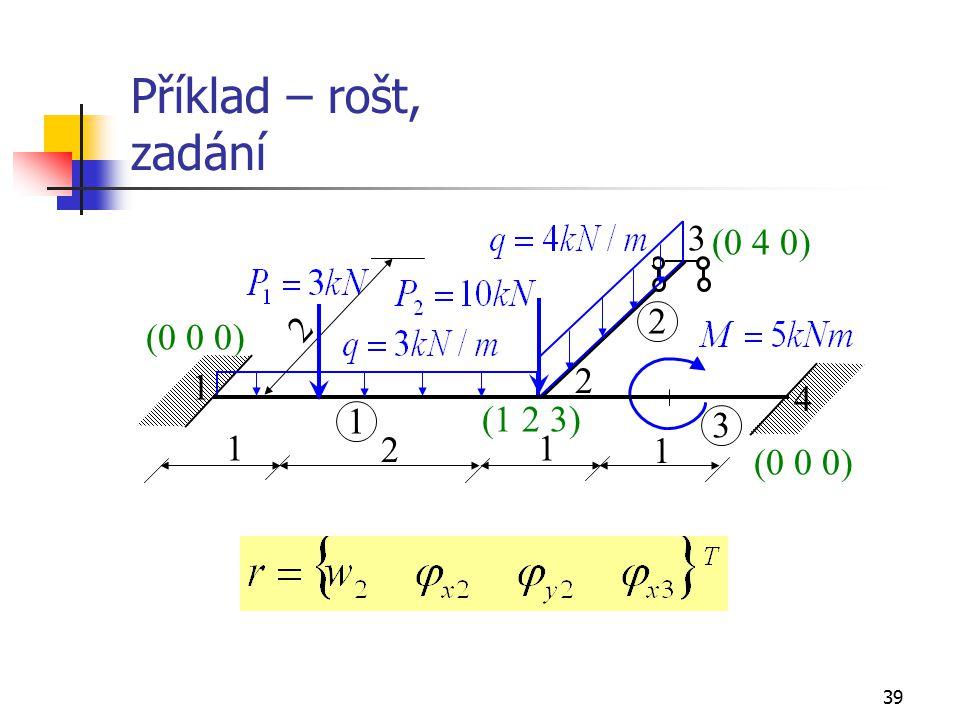 39 Příklad – rošt, zadání 1 3 2 4 1 2 3 11 2 (0 4 0) (1 2 3) (0 0 0) 1 2