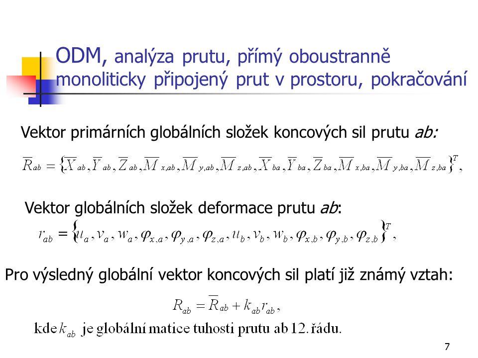 18 ODM, analýza prutu v prostoru, lokální matice tuhosti oboustranně kloubově připojeného prutu