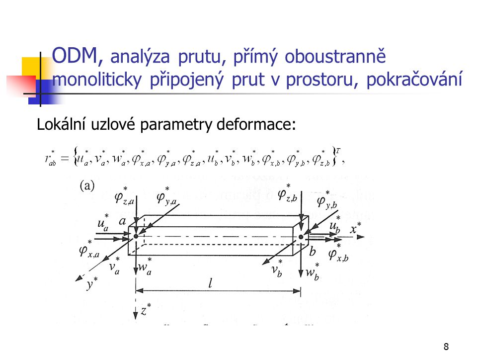 8 ODM, analýza prutu, přímý oboustranně monoliticky připojený prut v prostoru, pokračování Lokální uzlové parametry deformace: