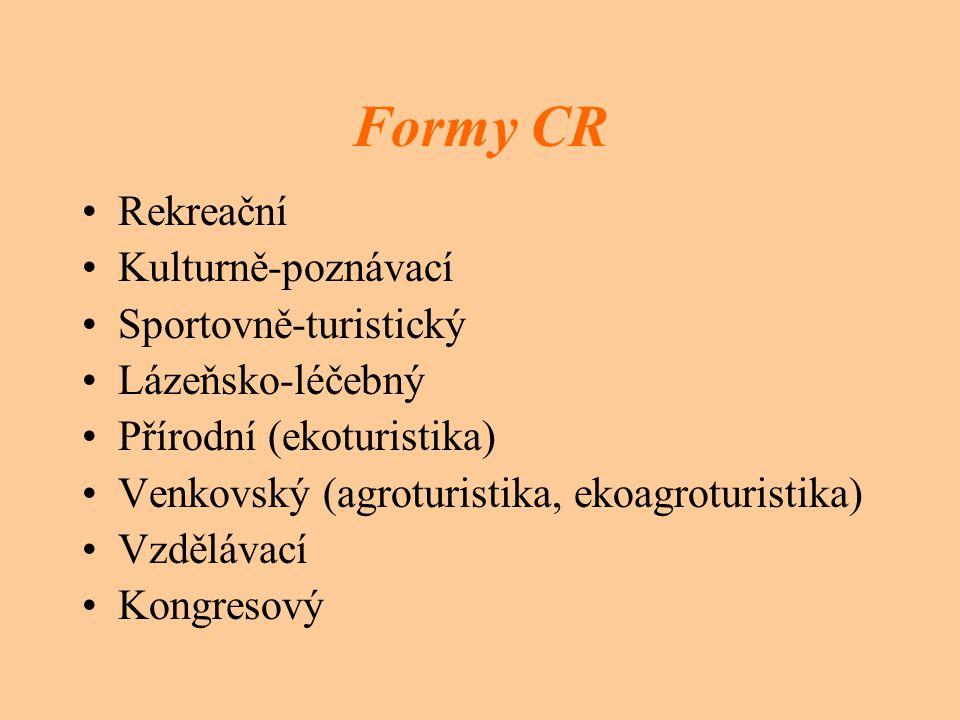 Formy CR Rekreační Kulturně-poznávací Sportovně-turistický Lázeňsko-léčebný Přírodní (ekoturistika) Venkovský (agroturistika, ekoagroturistika) Vzdělávací Kongresový