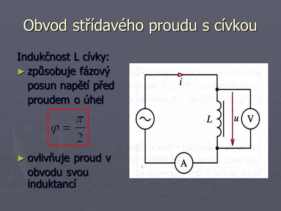 Obvod střídavého proudu s cívkou Indukčnost L cívky: ► způsobuje fázový posun napětí před proudem o úhel ► ovlivňuje proud v obvodu svou induktancí