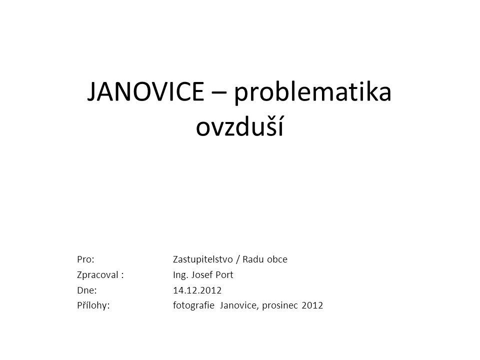 JANOVICE – problematika ovzduší Pro:Zastupitelstvo / Radu obce Zpracoval : Ing.