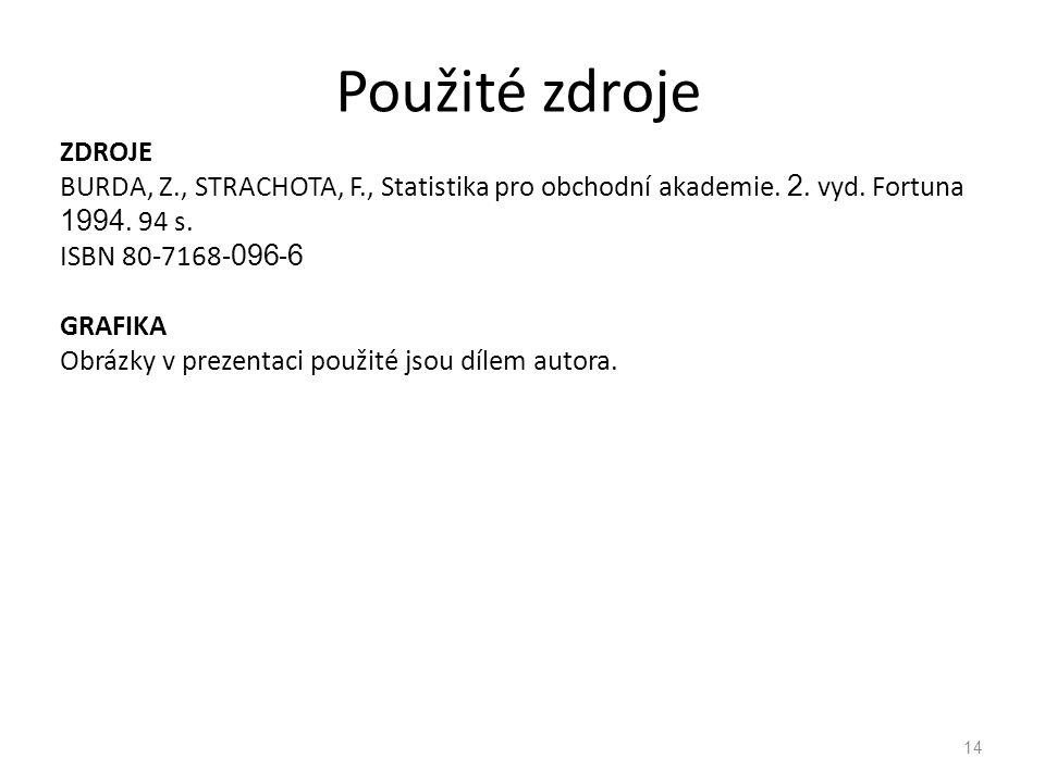 ZDROJE BURDA, Z., STRACHOTA, F., Statistika pro obchodní akademie. 2. vyd. Fortuna 1994. 94 s. ISBN 80-7168- 096 - 6 GRAFIKA Obrázky v prezentaci použ