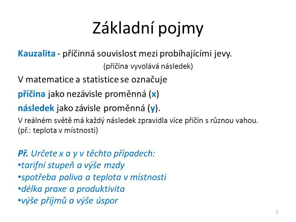 Základní pojmy Kauzalita - příčinná souvislost mezi probíhajícími jevy. (příčina vyvolává následek) V matematice a statistice se označuje příčina jako