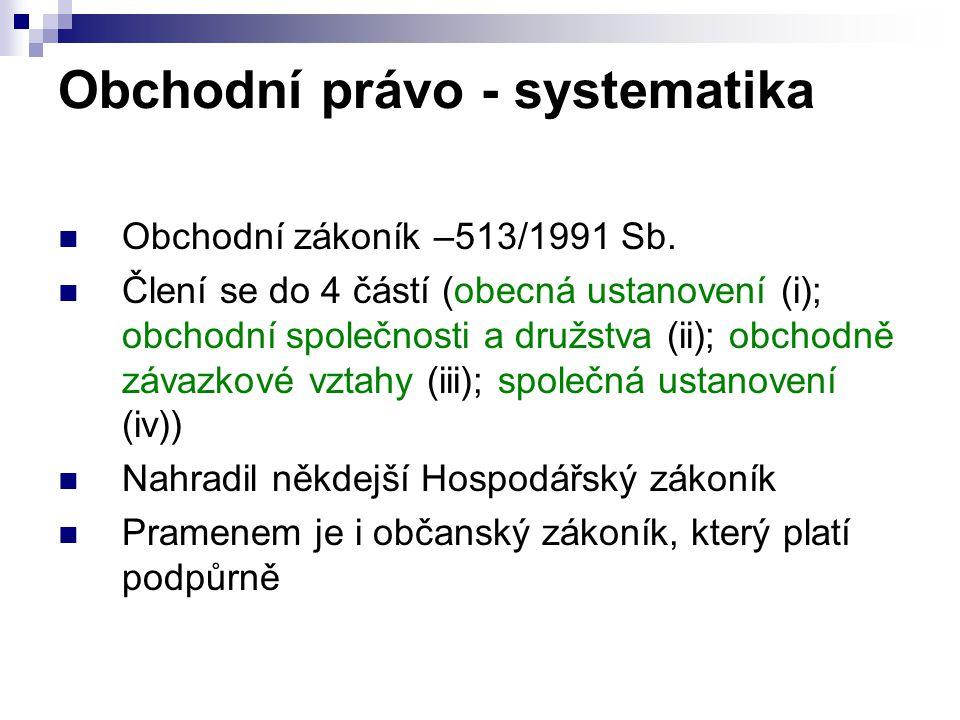 Obchodní právo - systematika Obchodní zákoník –513/1991 Sb. Člení se do 4 částí (obecná ustanovení (i); obchodní společnosti a družstva (ii); obchodně