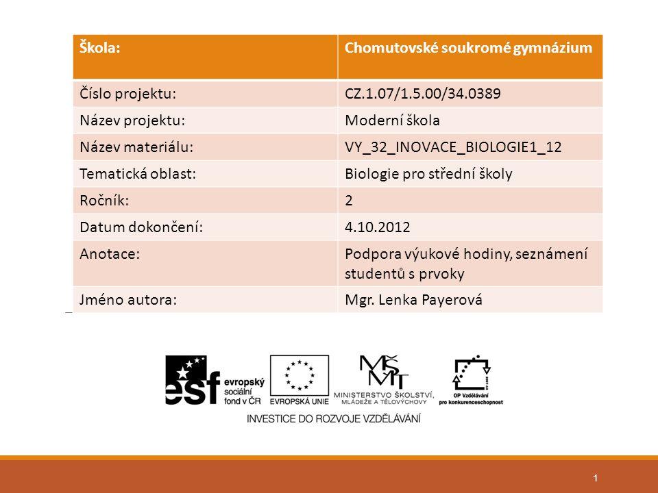1 Škola:Chomutovské soukromé gymnázium Číslo projektu:CZ.1.07/1.5.00/34.0389 Název projektu:Moderní škola Název materiálu:VY_32_INOVACE_BIOLOGIE1_12 T