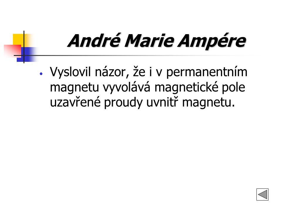 André Marie Ampére Vyslovil názor, že i v permanentním magnetu vyvolává magnetické pole uzavřené proudy uvnitř magnetu.