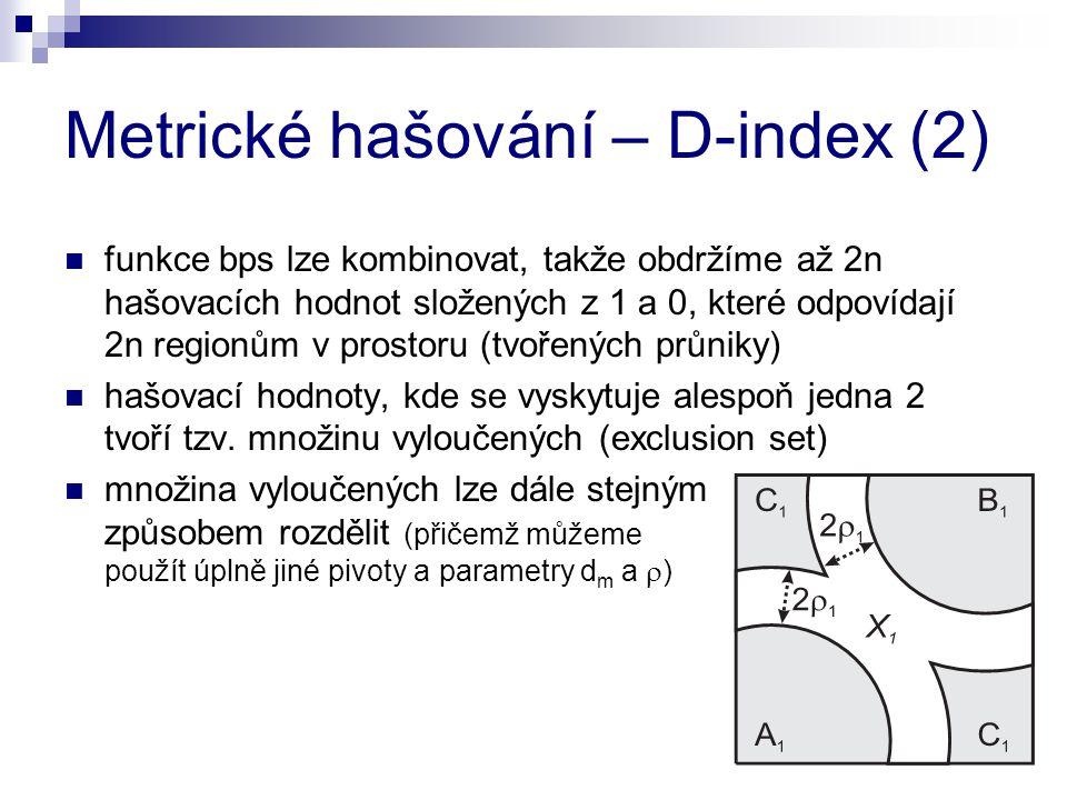 Metrické hašování – D-index (2) funkce bps lze kombinovat, takže obdržíme až 2n hašovacích hodnot složených z 1 a 0, které odpovídají 2n regionům v prostoru (tvořených průniky) hašovací hodnoty, kde se vyskytuje alespoň jedna 2 tvoří tzv.