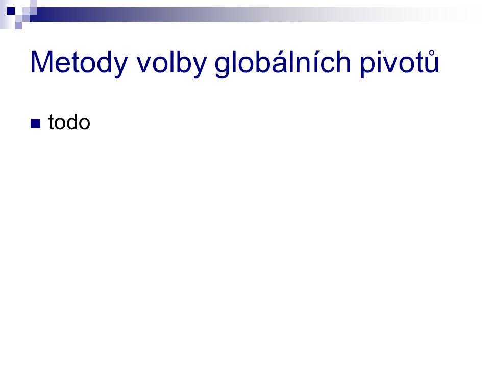 Metody volby globálních pivotů todo