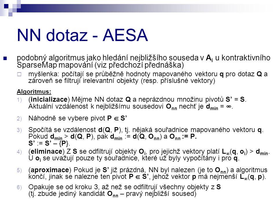 NN dotaz - AESA podobný algoritmus jako hledání nejbližšího souseda v A i u kontraktivního SparseMap mapování (viz předchozí přednáška)  myšlenka: počítají se průběžně hodnoty mapovaného vektoru q pro dotaz Q a zároveň se filtrují irelevantní objekty (resp.