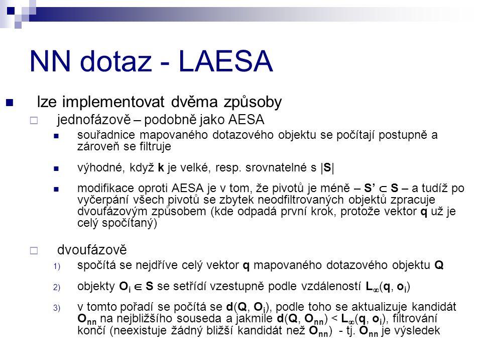 NN dotaz - LAESA lze implementovat dvěma způsoby  jednofázově – podobně jako AESA souřadnice mapovaného dotazového objektu se počítají postupně a zároveň se filtruje výhodné, když k je velké, resp.