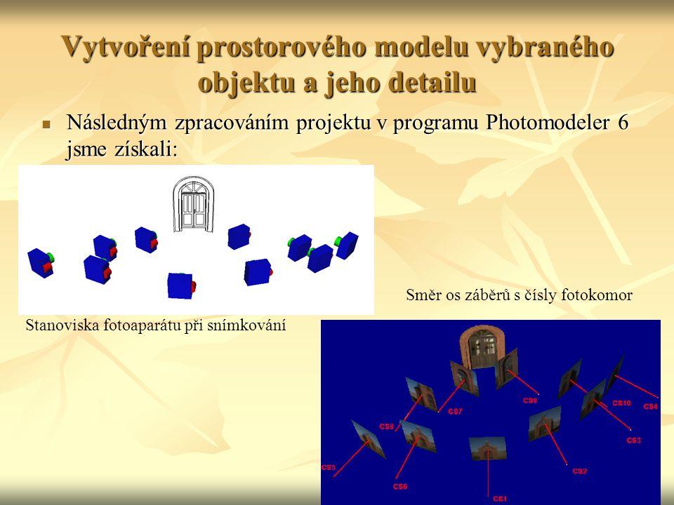 Vytvoření prostorového modelu vybraného objektu a jeho detailu Následným zpracováním projektu v programu Photomodeler 6 jsme získali: Následným zpracováním projektu v programu Photomodeler 6 jsme získali: Stanoviska fotoaparátu při snímkování Směr os záběrů s čísly fotokomor