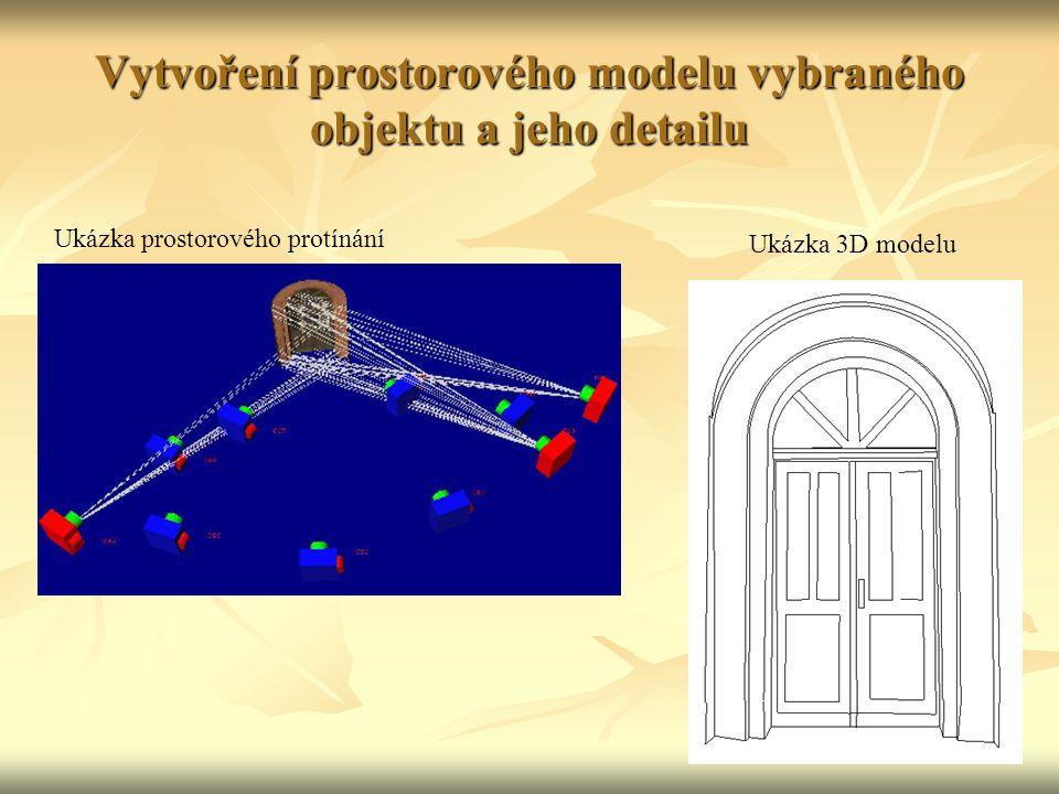Vytvoření prostorového modelu vybraného objektu a jeho detailu Ukázka prostorového protínání Ukázka 3D modelu