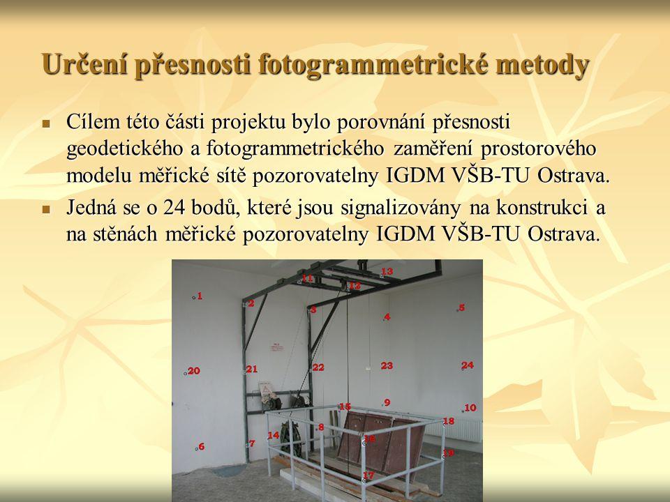 Cílem této části projektu bylo porovnání přesnosti geodetického a fotogrammetrického zaměření prostorového modelu měřické sítě pozorovatelny IGDM VŠB-TU Ostrava.
