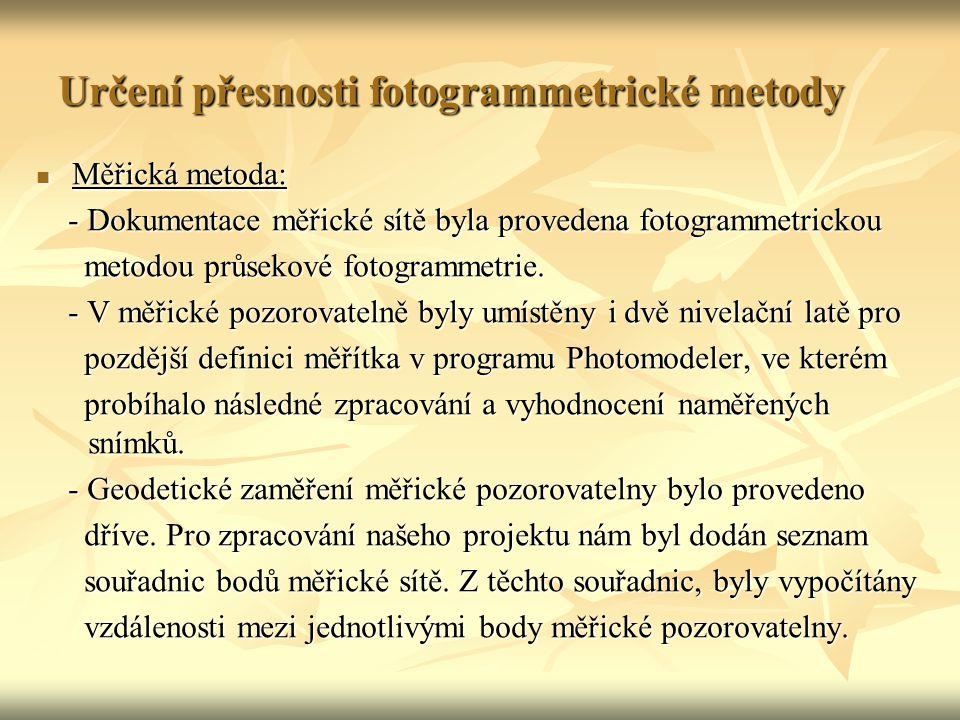 Určení přesnosti fotogrammetrické metody Měřická metoda: Měřická metoda: - Dokumentace měřické sítě byla provedena fotogrammetrickou - Dokumentace měřické sítě byla provedena fotogrammetrickou metodou průsekové fotogrammetrie.