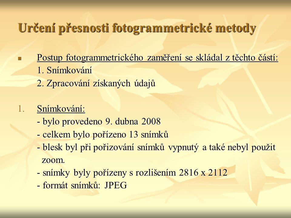 Určení přesnosti fotogrammetrické metody Postup fotogrammetrického zaměření se skládal z těchto částí: Postup fotogrammetrického zaměření se skládal z těchto částí: 1.