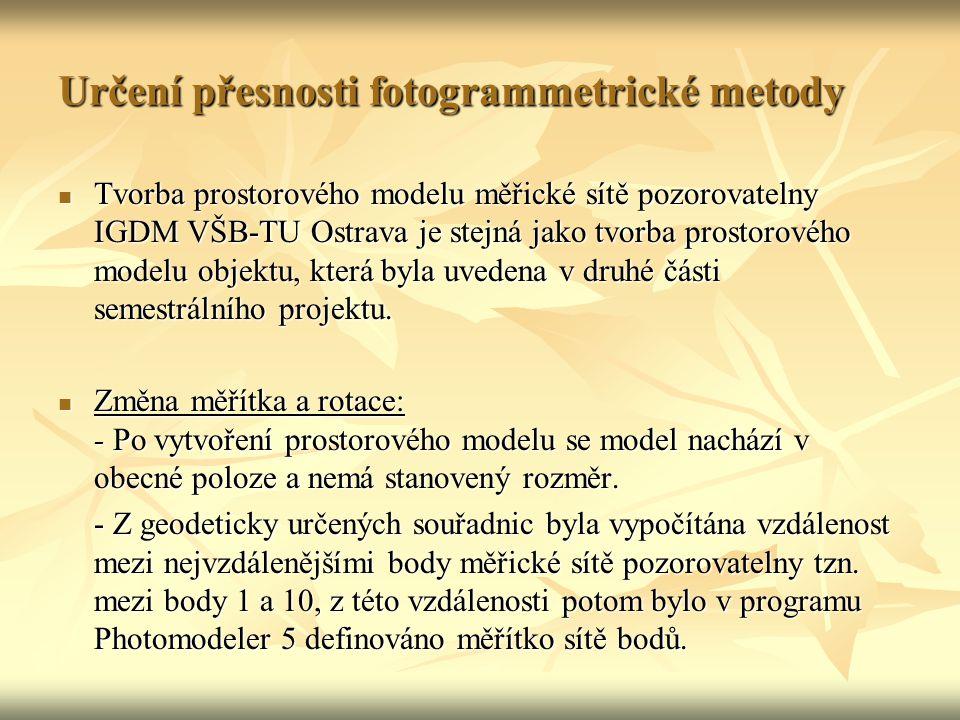 Určení přesnosti fotogrammetrické metody Tvorba prostorového modelu měřické sítě pozorovatelny IGDM VŠB-TU Ostrava je stejná jako tvorba prostorového modelu objektu, která byla uvedena v druhé části semestrálního projektu.