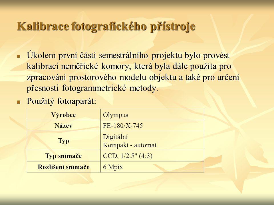 Kalibrace fotografického přístroje Objektiv Olympus Lens 6,3 – 18,9 mm Světelnost objektivuF3.1 – F5.9 Ohnisková vzdálenost38 – 114 mm Zoom3x optický, 4x digitální Fotografie Formát snímkůJPEG Velikost snímků2816 x 2112, 2048 x 1536, 640 x 480 Paměťové médiumxD-Picture Card Expozice Rozsah expozičních časů4-1/2000 s Vzdálenost fotografování 0,1 m až  (normální režim) 0,6 m až  (režim makro) 0,05 m až  ( režim super makro)