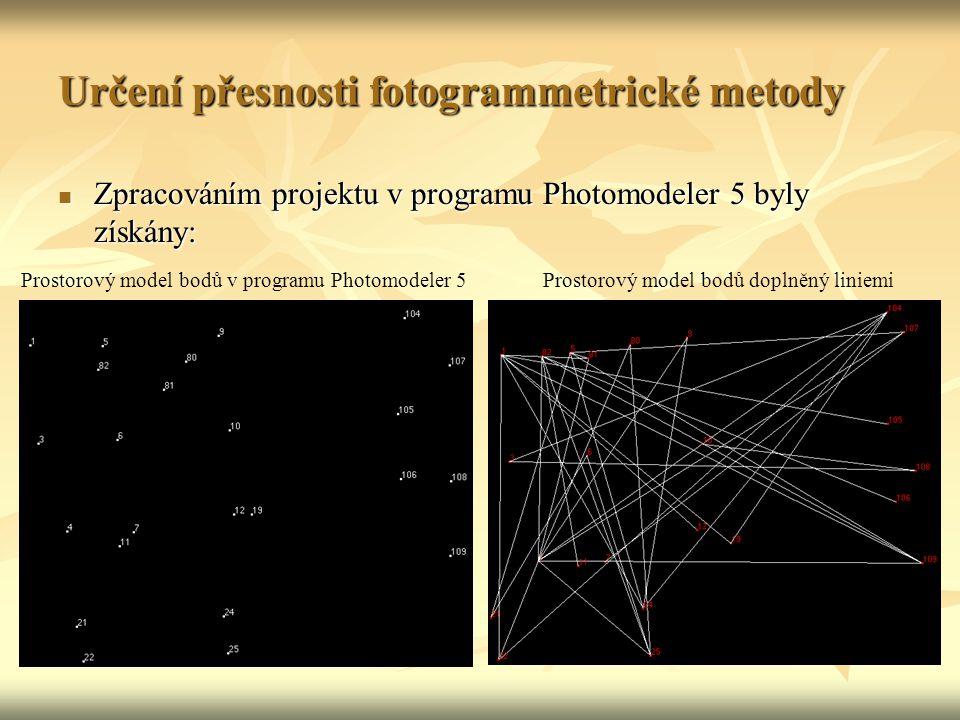 Určení přesnosti fotogrammetrické metody Zpracováním projektu v programu Photomodeler 5 byly získány: Zpracováním projektu v programu Photomodeler 5 byly získány: Prostorový model bodů v programu Photomodeler 5Prostorový model bodů doplněný liniemi