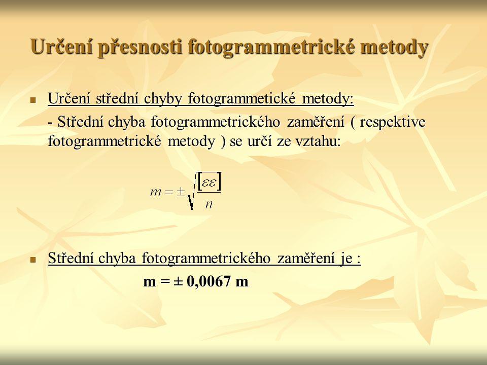 Určení přesnosti fotogrammetrické metody Určení střední chyby fotogrammetické metody: Určení střední chyby fotogrammetické metody: - Střední chyba fotogrammetrického zaměření ( respektive fotogrammetrické metody ) se určí ze vztahu: Střední chyba fotogrammetrického zaměření je : Střední chyba fotogrammetrického zaměření je : m = ± 0,0067 m m = ± 0,0067 m
