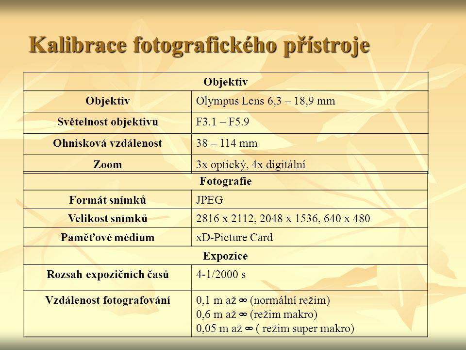 Určení přesnosti fotogrammetrické metody Přístrojové vybavení: Přístrojové vybavení: - digitální fotoaparát Olympus FE-180/X-745 - digitální fotoaparát Olympus FE-180/X-745 Softwarové vybavení: Softwarové vybavení: - Photomodeler 5 - Photomodeler 5 Další pomůcky: Další pomůcky: - nivelační latě - nivelační latě