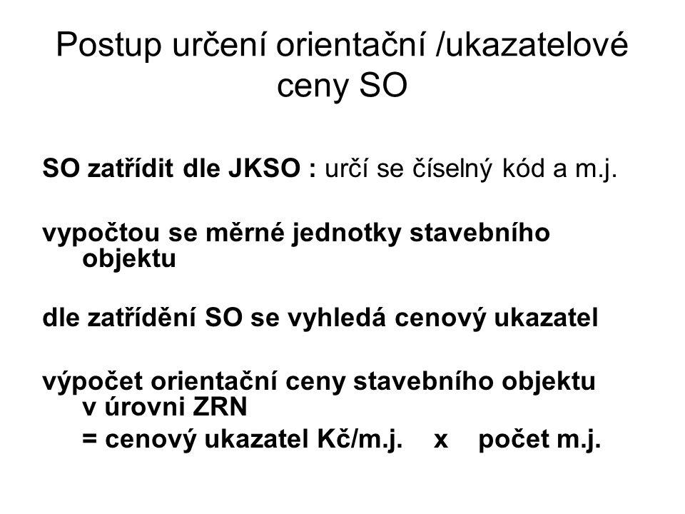 Postup určení orientační /ukazatelové ceny SO SO zatřídit dle JKSO : určí se číselný kód a m.j. vypočtou se měrné jednotky stavebního objektu dle zatř