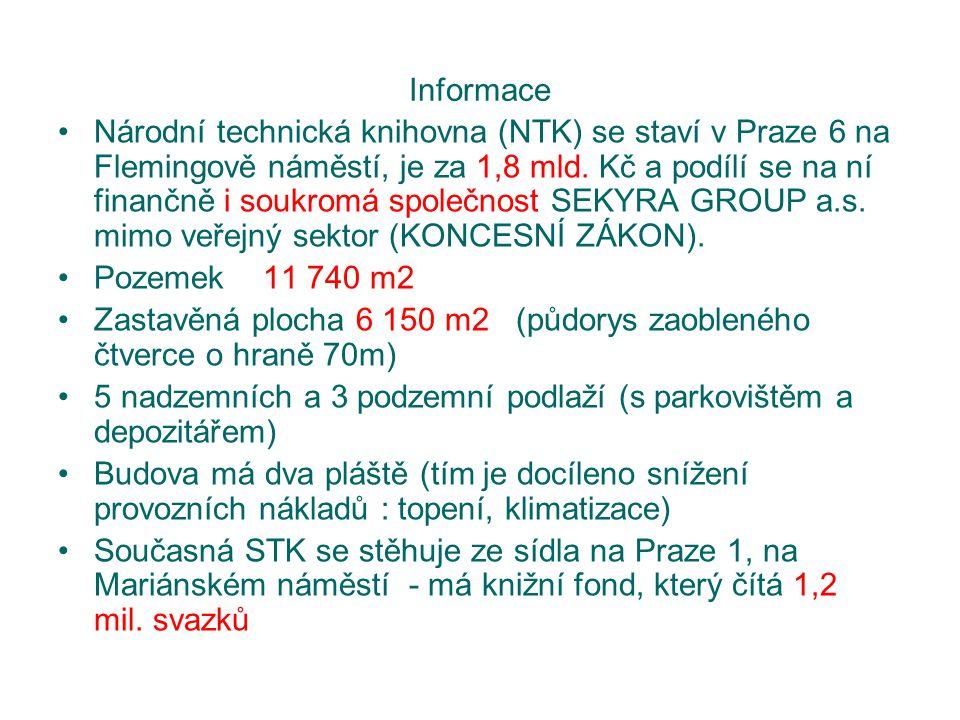 Informace Národní technická knihovna (NTK) se staví v Praze 6 na Flemingově náměstí, je za 1,8 mld. Kč a podílí se na ní finančně i soukromá společnos