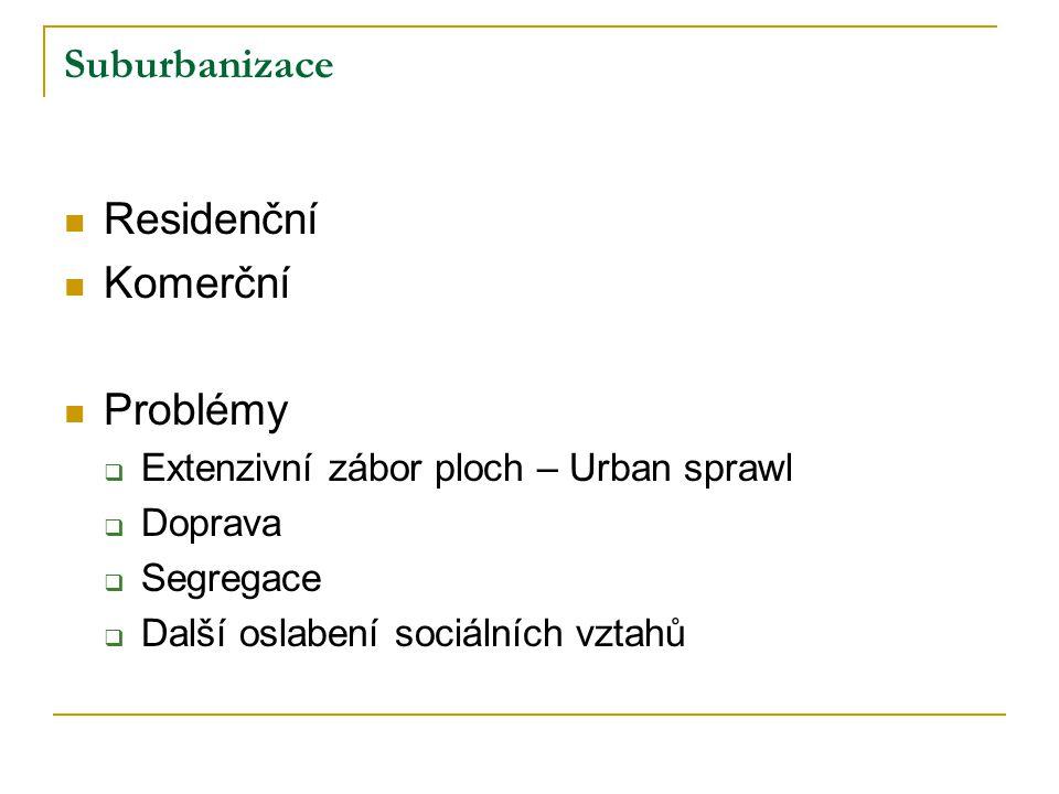 Suburbanizace Residenční Komerční Problémy  Extenzivní zábor ploch – Urban sprawl  Doprava  Segregace  Další oslabení sociálních vztahů